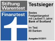 Stiftung Warentest - Festgeld Bank of Scotland Testsieger