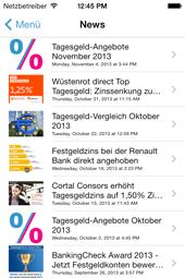 Tagesgeld-News App - Übersicht News