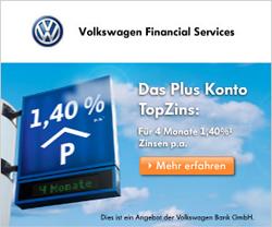 1,40% Zinsen beim Volkswagen Bank Tagesgeldkonto