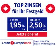 Credit Europe Bank Festgeld mit bis zu 2,50% Zinsen p.a.
