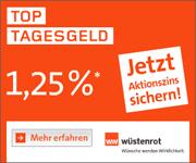 Wüstenrot direct Tagesgeld mit 1,25% Zinsen p.a. für Neu- und Bestandskunden