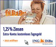 ING-DiBa Extra-Konto mit bis zu 1,25% Zinsen p.a. für Neukunden