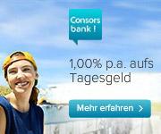 Consorsbank Tagesgeldmit 1,00% Zinsen für Neukunden + 12 Monaten Zinsgarantie