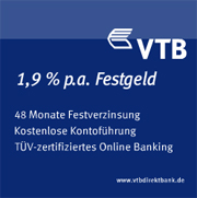 VTB Direktbank Festgeld mit bis zu 1,90% Zinsen jährlich