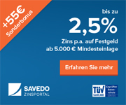 Savedo Neukundenaktion - 55€ Sonderbonus
