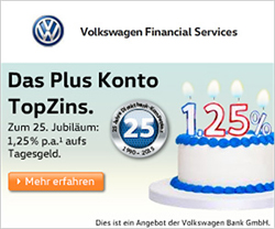 Empfehlung - Volkswagen Bank Tagesgeld mit bis zu 1,25% Zinsen f�r Neukunden + Zinsgarantie