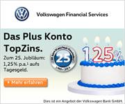 Volkswagen Bank Neukunden-Tagesgeld mit 1,25% Zinsen p.a. + Zinsgarantie