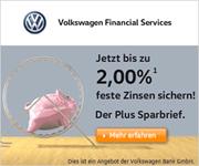 Volkswagen Bank PlusSparbrief mit bis zu 2,00% Zinsen p.a.