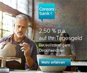 Consorsbank Depotwechsel mit 2,50% aufs Tagesgeld