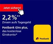 Postbank Girokonto mit 2,20% Tagesgeld Zinsen verländert