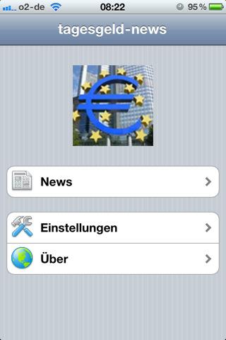 Tagesgeld-News.de App Hauptmenü