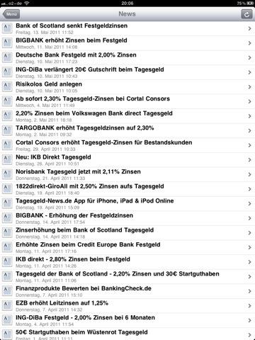 Tagesgeld-News.de App iPhone Übersicht News