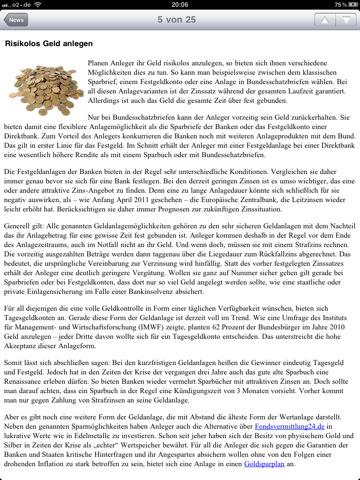 Tagesgeld-News.de App iPhone News lesen