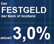 Bank of Scotland Festgeld - 3,0% Zinsen für nur 1 Jahr Laufzeit