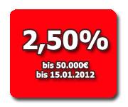 VW Bank Tagesgeld mit 2,50% Zinsen und Zinsgarantie