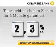 Commerzbank - 2,30% Zinsen beim Tagesgeld sichern