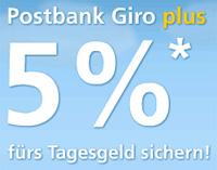Postbank Girokonto Jubel Aktion mit 5% Tagesgeld Zins