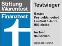 IKB Direkt Festgeld Auszeichnung Stiftung Warentest