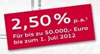 Audi-Bank Tagesgeld mit 2,50% Zinsen