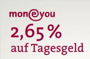 MoneYou 2,65% Zinsen aufs Tagesgeld