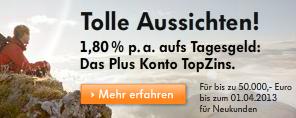 VW Bank Tagesgeld mit 1,80% Zinsen