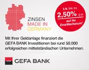 GEFA Bank Zinswachstum