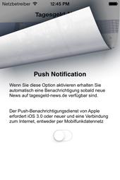 Tagesgeld-News App - Push Benachrichtigung
