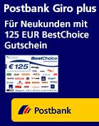 Postbank Giro plus mit 125€ Bestchoice Gutschein