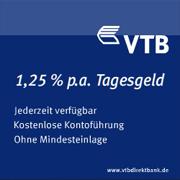VTB Direktbank Tagesgeld mit bis zu 1,25% Zinsen p.a.