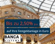 Banca Sistema Festgeld mit bis zu 2,50% Zinsen p.a.