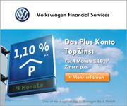 Volkswagen Bank Neukunden-Tagesgeld mit 1,10% Zinsen p.a. + Zinsgarantie