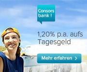Consorsbank Tagesgeld mit 1,20% Zinsen p.a.