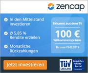 100€ Willkommenspramie für Erstinvestoren bei Zencap