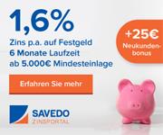 ATLANTICO Europa Festgeld mit 1,60% Zinsen p.a. bei der 6-monatigen Anlage
