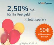 WeltSparen Willkommensprämie - 50€ für Neukunden