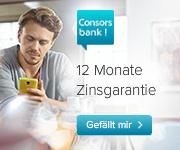 Consorsbank Tagesgeld mit bis zu 1,00% Zinsen p.a. für Neukunden + 12 Monate Zinsgarantie
