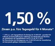 Postbank giro plus mit 1,50% Zinsen beim Tagesgeld