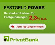 PrivatBank Festgeld mit bis zu 2,30% Zinsen