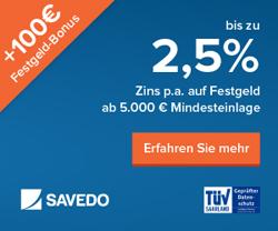 Beim Geldanlagemarktplatz bis zu 2,50% Zinsen p.a. aufs Festgeld erhalten