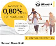 Renault Bank direkt Tagesgeld mit bis zu 0,80% Zinsen jährlich für Neukunden inkl. 3 Monate Zinsgarantie