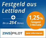 Jetzt neu bei Zinspilot - 1,25 % p.a. bei nur 3-monatiger Laufzeit sichern